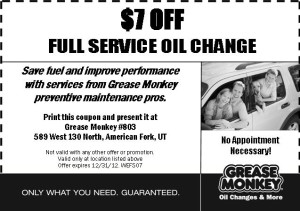 Grease Monkey oil change coupon-  full services